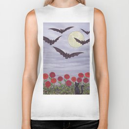 bats, zinnias, and black cat Biker Tank