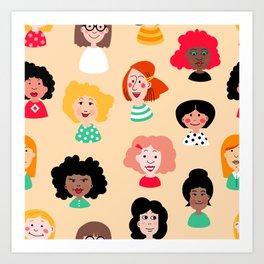 Diversity Girl Illustration Pattern Art Print