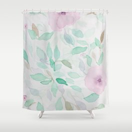 Pink and Mint Flowery Watercolor design Shower Curtain