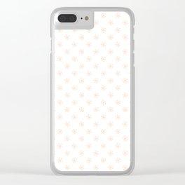 Deep Peach Orange on White Snowflakes Clear iPhone Case