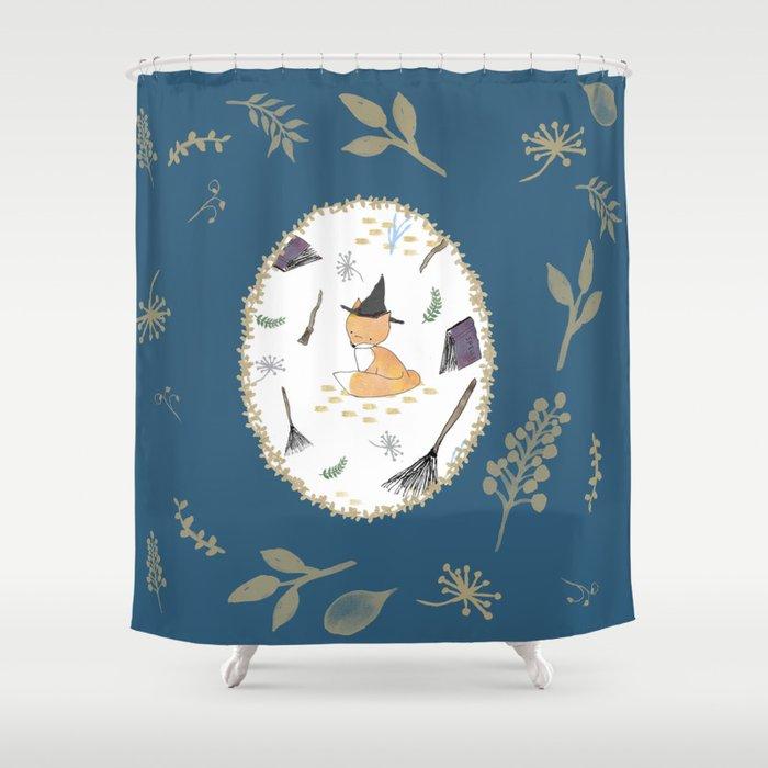 Blue Magical Fox Shower Curtain By Afoxnamedkaity