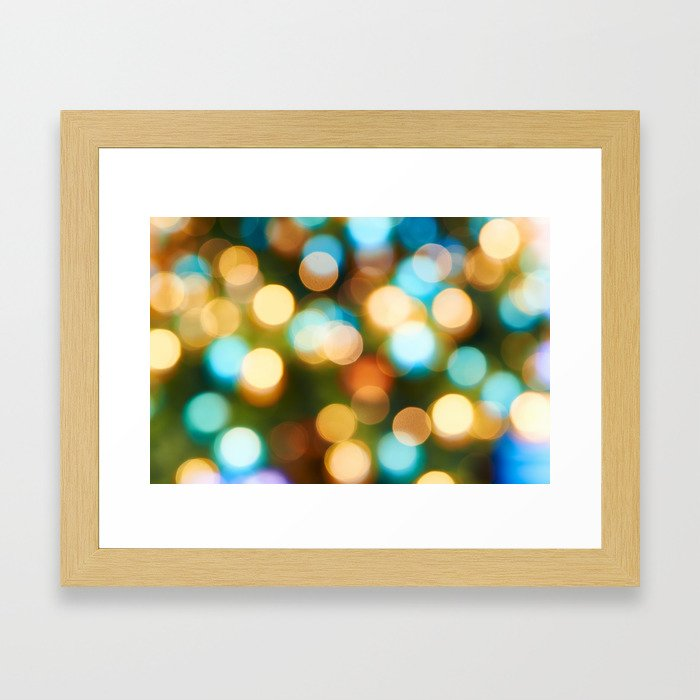 Abstract holiday Christmas background with blue and yellow Framed Art Print