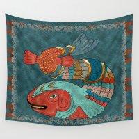 folk Wall Tapestries featuring Fish Folk by BohemianBound