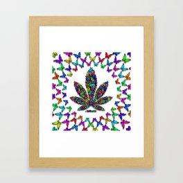 Butterflies Cannabis Leaf 2 Framed Art Print