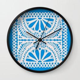 Fiesta de Flores in Party Blue Wall Clock
