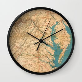 Vintage Map of Virginia and The Chesapeake Bay (1862) Wall Clock