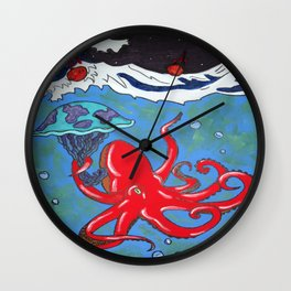 Cloudy With a Chance of Meteor Showers Wall Clock