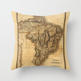 Map of Brazil and Paraguay (1828) Throw Pillow