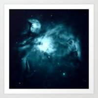 nebula Art Prints featuring Orion nebula : Teal Galaxy by 2sweet4words Designs