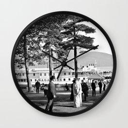 Vintage Lake George: The Sagamore Docks at Green Island Wall Clock