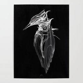 Kingfisher 1b.  White on black  background-(Red eyes series) Poster