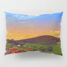 Small village skyline with sunset | landscape photography Pillow Sham