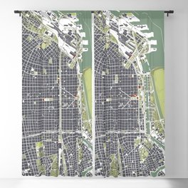 Buenos aires city map engraving Blackout Curtain