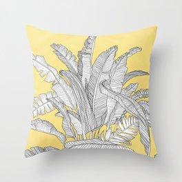 Banana Leaves Illustration - Yellow Throw Pillow