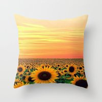 sunflower Throw Pillows featuring Sunflower by Don't Be A Dick