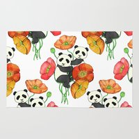 pandas Area & Throw Rugs featuring Poppies & Pandas by micklyn
