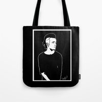 matty healy Tote Bags featuring Matty. by Spazy Art
