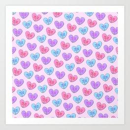 Broken Candy Hearts Art Print