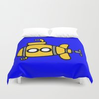 submarine Duvet Covers featuring Yellow Submarine by Caroline Blicq