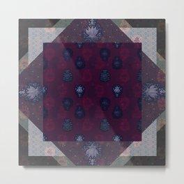Lotus flower patchwork - woodblock print style pattern Metal Print