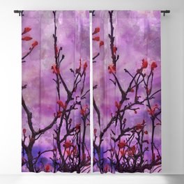 Dark Branches With Red Buds Watercolor Blackout Curtain