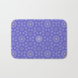 Rings of Flowers - Color: Royal Blue & Gold Bath Mat