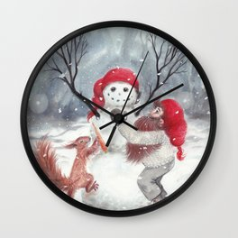 Gnome and squirrel building snowman - Christmas Wall Clock