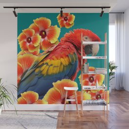 TEAL TROPICAL RED-YELLOW HIBISCUS FLOWERS & BLUE MACAW PARROT Wall Mural