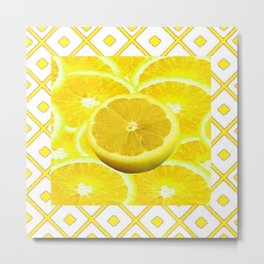 Yellow Grapefruit Pattern Art Metal Print