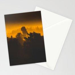 Sunrise behind foggy trees Stationery Cards