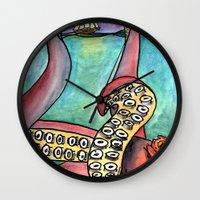 kraken Wall Clocks featuring Kraken by Indigo22