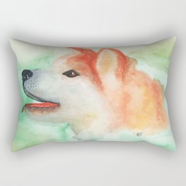 Watercolor Akita Inu dog portrait Rectangular Pillow
