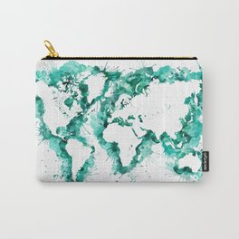 Watercolor splatters world map in teal Carry-All Pouch