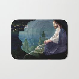Jesus Christ On Mount Olive With White Rose By Annie Zeno Bath Mat
