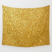 gold glitter Wall Tapestries featuring GOLD GLITTER by I Love Decor