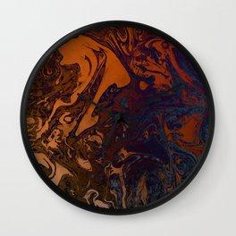 Orange Gradient Marble #marble #orange #blue #planet Wall Clock