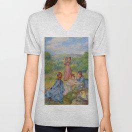 """Auguste Renoir """"Jeunes filles jouant au volant"""" Unisex V-Neck"""