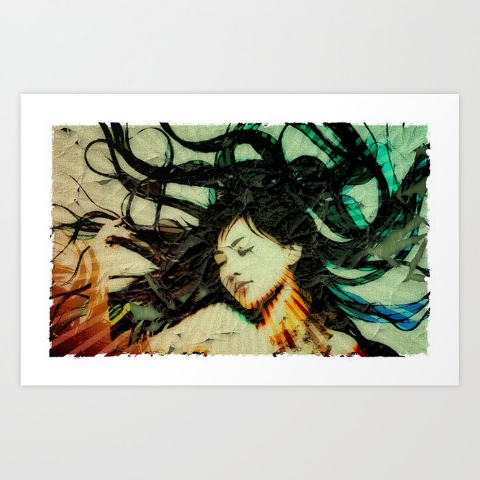 Girl's Dream in a Dream. Art Print