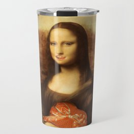 Mona Lisa Loves Valentine's Candy Travel Mug