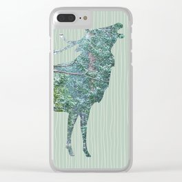 Elk Silhouette with Yosemite Snowfall Inlay Clear iPhone Case