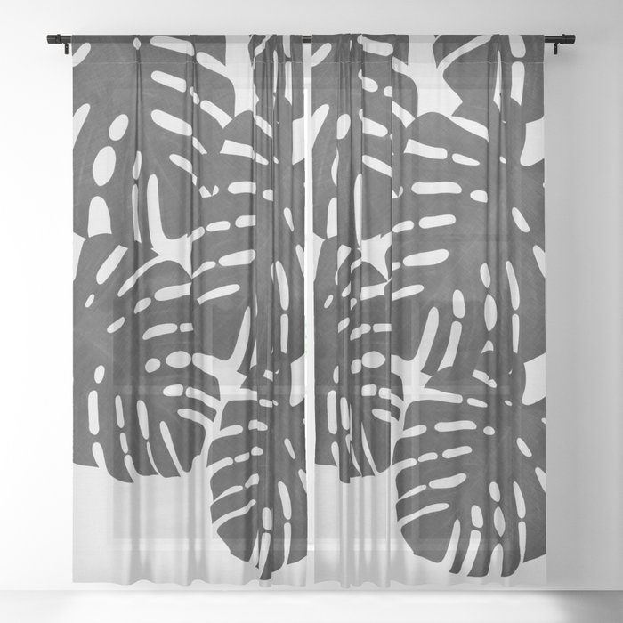 Monstera Black & White I Sheer Curtain