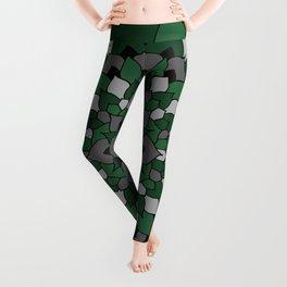 Green & Silver Floral Mandala Leggings