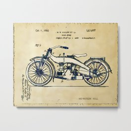 HD Motorcycle Patent - Circa 1924 Metal Print