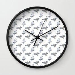 Snowy owl in flight on WHITE Wall Clock