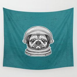 Astronaut Pug Wall Tapestry