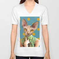 dot V-neck T-shirts featuring DOT by Julia Lillard Art