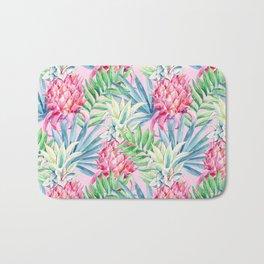 Pineapple & watercolor leaves Bath Mat