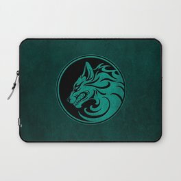 Teal Blue Growling Wolf Disc Laptop Sleeve