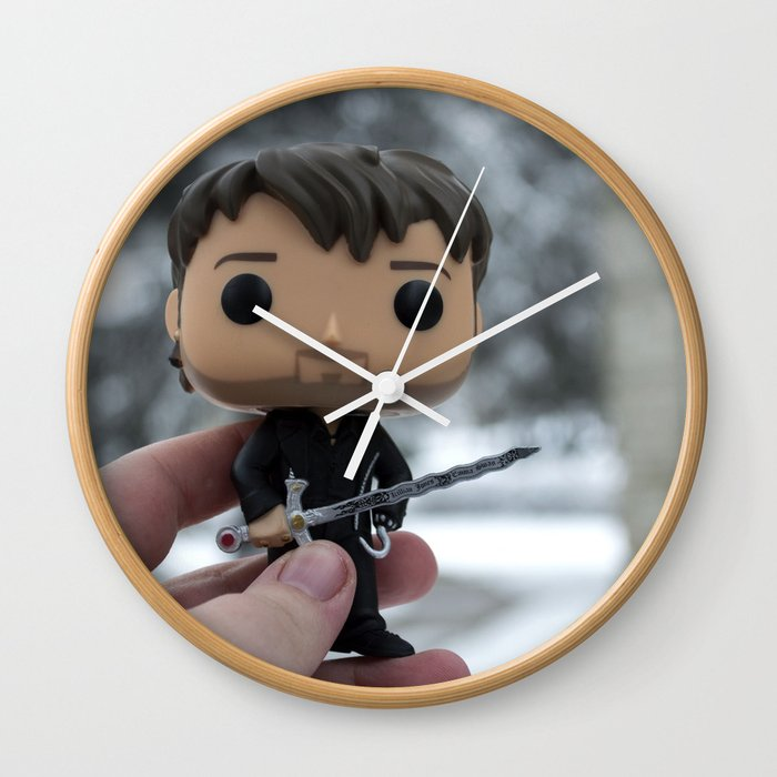 Captain Hook In The Snow Wall Clock