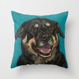 Smiling Rottweiler Painting, Rottie Dog Portrait, Rottweiler Artwork Throw Pillow